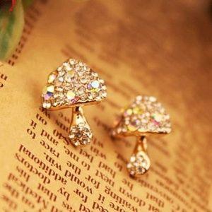 Trippy Mushroom Iridescent Rhinestone Earrings